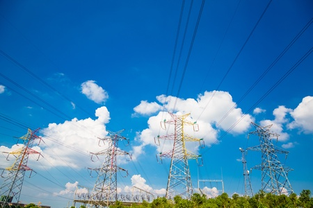 High voltage towers with sky background.  photo