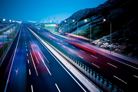 motion trucks on the freeway. Stock Photo