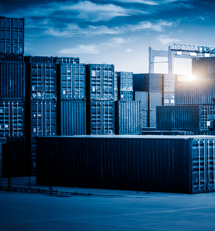 blue  toned: stack of containers,blue toned image.
