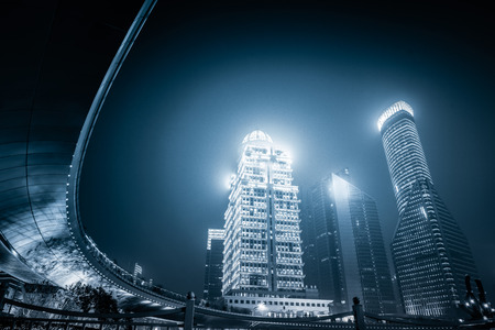 pudong district: night view of pudong district Stock Photo