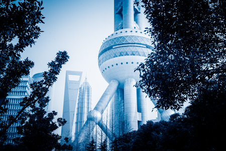 oriental pearl tower: Oriental Pearl Tower ,blue toned image. Editorial