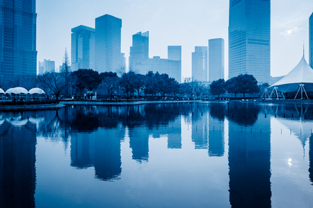 blue  toned: building skyline, blue toned image.
