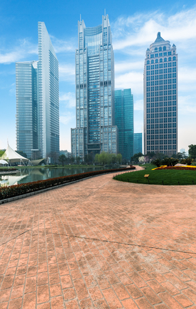 citypark: skyline taken from near by citypark,shanghai china.