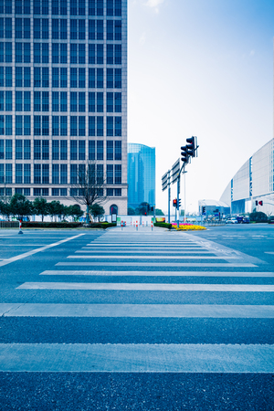 city scene: city zebra crossing,shanghai china. Stock Photo