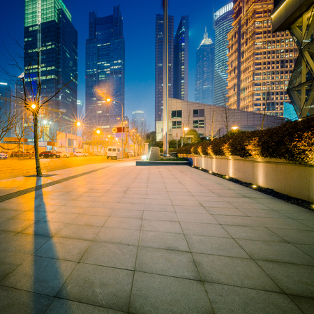 downtown district: night shanghai downtown district,china Stock Photo
