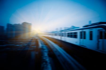 monorail: metro monorail moving with city background,chongqing china Stock Photo