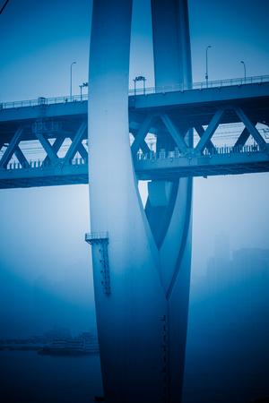 blue  toned: detail of yangtse river bridge structure,blue toned image.