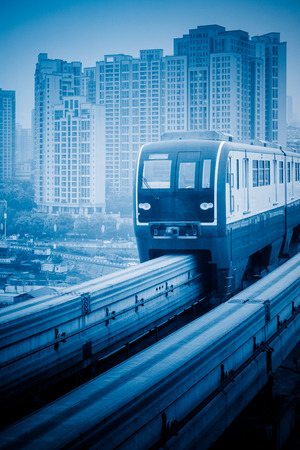 monorail: moving metro monorail in chongqing