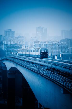 monorail: moving metro monorail,chongqing