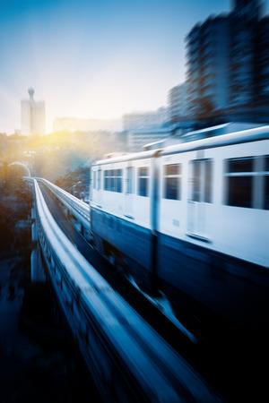 monorail: metro monorail driving through tunnel