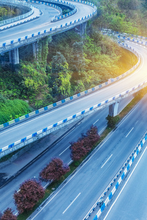 flyover: aerial view of chongqing flyover on a sunny day,china Stock Photo