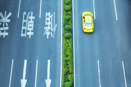 one lane sign: aerial view of road thaffic,chongqing china. Stock Photo