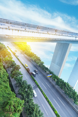 flyover: traffic on chongqing flyover Stock Photo