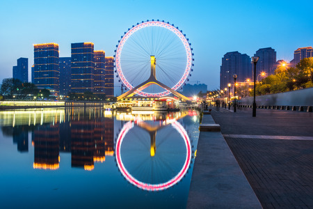 beautiful ferris wheel at night,tianjin