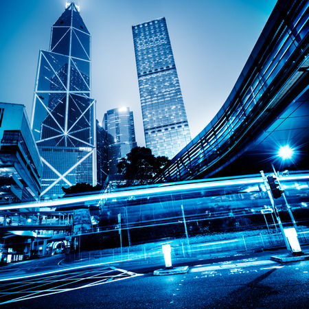 overbridge: central town of hongkong,china,blue toned image.