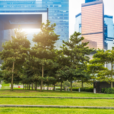 citypark: citypark in front of office building area. Stock Photo