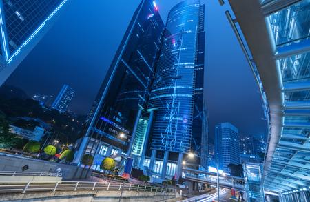 overbridge: low angle view of skyscraper,hongkong china.