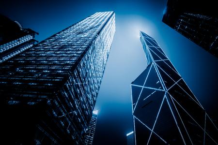 hongkong: low angle view of skyscraper,International Commerce Center,hongkong china. Stock Photo