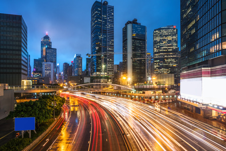 overbridge: crowded traffic in the downtown district,hongkong china.