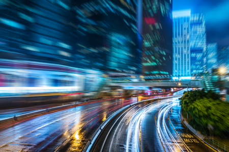 overbridge: crowded traffic in the downtown district,hongkong china Stock Photo