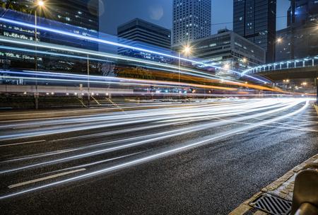overbridge: car trails on the high street,hongkong china.