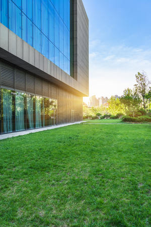 Modern office building with green lawn,tianjin china.