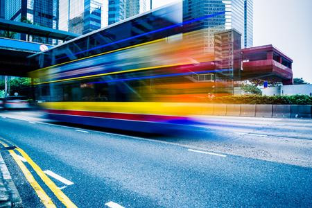 overbridge: double decker bus,motion blurred