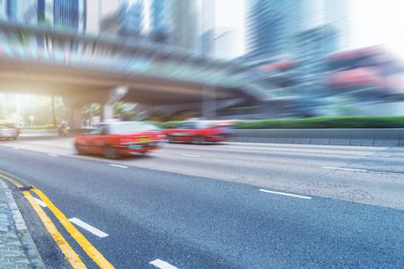 overbridge: blurred traffic in hongkong china. Stock Photo