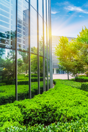 Modern office building with green bushes,tianjin china.