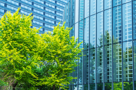 green office: modern office building with green trees Stock Photo