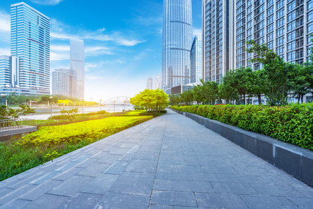 empty cement floor and modern buildings,tianjin china. Stock Photo