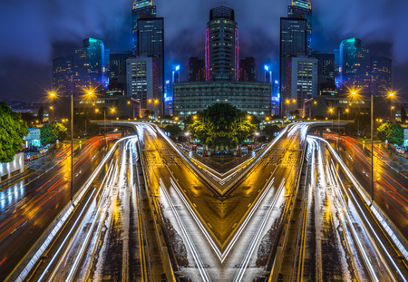 downtown district: light trails in the downtown district,hongkong china.