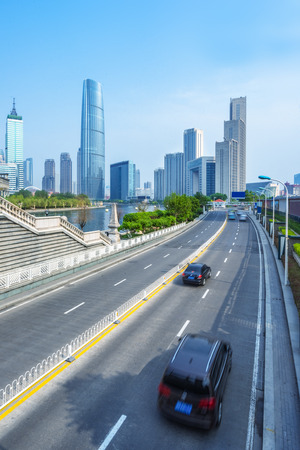 urban road: traffic in the downtown district,tianjin china.