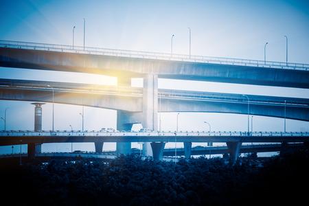 blue  toned: chongqing city traffic,blue toned image.