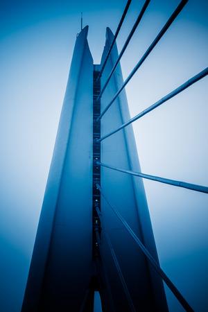 blue  toned: Cable stayed bridge,blue toned image.