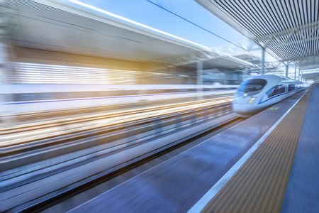 highspeed: high-speed train at the railway station,motion blurred,tianjin china.