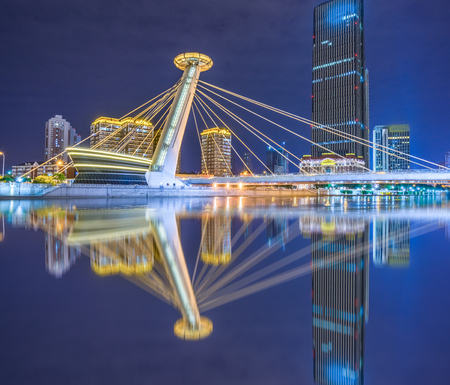 nightview: nightview of tianjin downtown district,china.