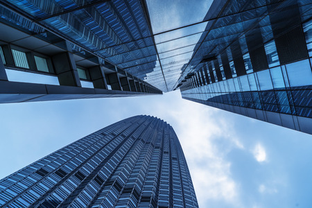 low angle view: low angle view of skyscrapers,tianjin china. Stock Photo