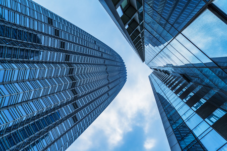 low  angle: low angle view of skyscrapers,tianjin china. Stock Photo