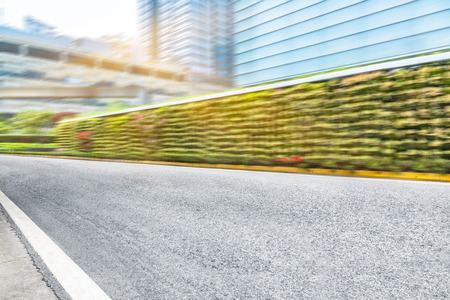 empty road front of modern buildings Stock Photo