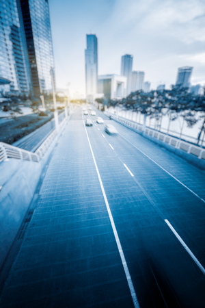 city traffic: City road with fast moving traffic,tianjin china. Stock Photo