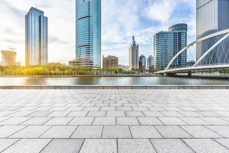 empty floor and city skyline under blue sky,tianjin china 版權商用圖片