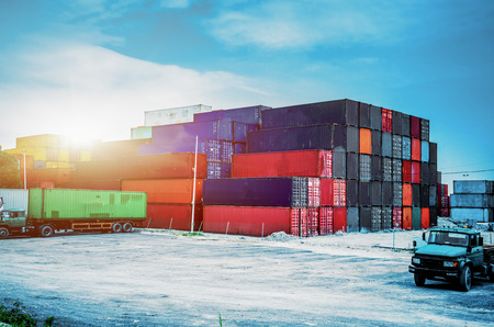 Truck in container depot of China. Editorial