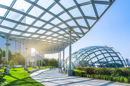 canopy: beautiful park and glass canopy at a sunny day