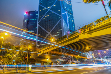 blurred traffic in downtown district,hong kong,china.