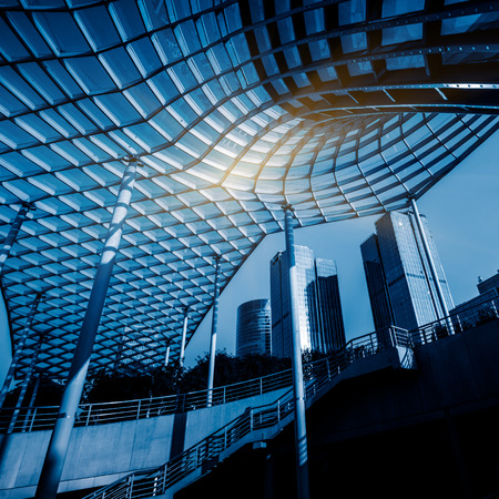 canopy: park and glass canopy at a sunny day,shanghai,china. Stock Photo