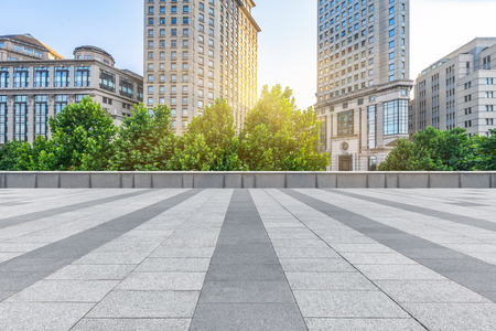 empty pavement and the bund skyline,copy space Standard-Bild