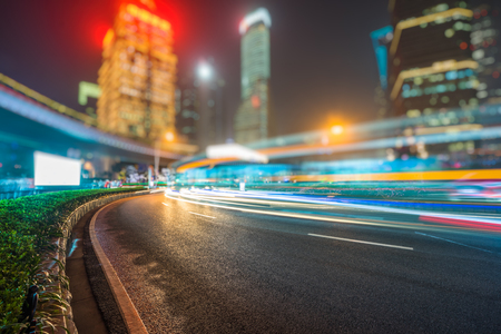 light trails: vehicle light trails at city road,shanghai,china.