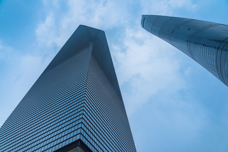 low angle views: financial district in shanghai, shanghai world financial center,jin mao tower,china.