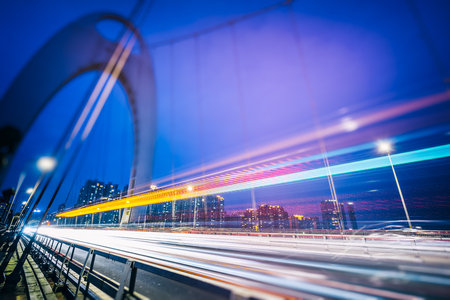car light trails on steel bridge,china. Stock Photo